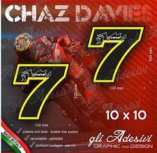 2 Adesivi Stickers Chaz DAVIES 7 numero cupolino replica 10 x 10 cm