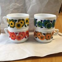 Arcopal France Flower Mugs Stacking Nesting Mug Coffee Mugs Retro Vintage 4PC