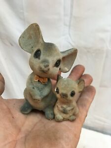 Vintage Pair 1940S Japan Felt Mice Mom and Child Mouse 3.5in size Miniatures