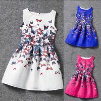 Blumen Mädchen Ärmellos Partykleid Kleid Kinder Sommer Ballkleider Schmetterling