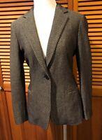 MAX MARA Wool Blend Blazer One Button SZ 4  Brown Herringbone ITALY Sleek