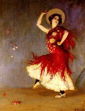 "CANVAS ART SPANISH DANCER FLAMENCO DANCE COSTUME VINTAGE PRINT 8.5""x11"" NEW"