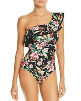 MSRP $136 Carmen Marc Valvo Ruffled One-Shoulder One Piece Swimsuit Size 6 Black