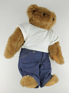 """Vermont Teddy Bear 15"""" Jointed Shaggy Brown Large Plush with Love Tattoo"""