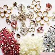 deco den kit  diy cellphone case cross flower crystal rhinestone flatback