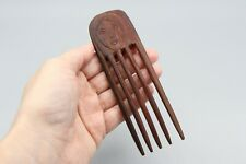 West Timor Indonesia Carved Wood Hair Comb, Handmade Primitive Wooden Hair Fork