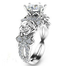 925 Silver White Sapphire Topaz Rose Flower Rings Friend Birthday Gift Size 8