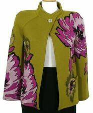 ST. JOHN Olive Green Wool Blend Knit Chrysanthemum Floral Jacket 2