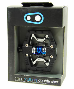 Crank Brothers Double Shot Clipless Platform Mountain Bike Pedals Matte Black