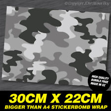 STICKER BOMB CAMO GREY PATTERN SHEET WRAP 300MM X 220MM  #SBOMB002