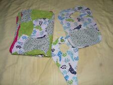 BABY GIRL HANDMADE BLANKET QUILT, BIRDS~BIB & BINKY HOLDER LOT GREEN & BLUE