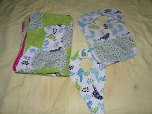 BABY GIRL HANDMADE BLANKET QUILT, BIRDS~BIB & BINKY HOLDER LOT GREEN & BLUE