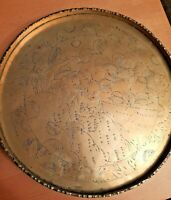 Antique Pair of Indian Brass Engraved Trays/Coasters One Heavy With Patina