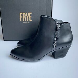 FRYE Boots Judith Ankle Double Zip Bootie Boot Black Leather - Women's Size 9
