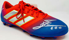 Leo Lionel Messi Signed Adidas Soccer Barcelona Red Cleat Beckett BAS COA