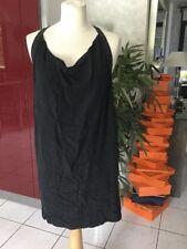 Robe MAJE taille 2 soit 38/40 soie et cuir noir