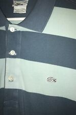 Lacoste Men's Vintage Wash Light and Dark Blue Striped Polo Size 5 (L)