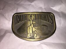 Vintage Truckers  New Raleigh Lights Cigarettes Belt Buckle  Semi truck