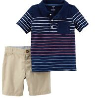 carters toddler boys short with polo striped shirt  Size 3T