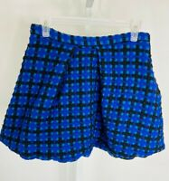 Marc By Marc Jacobs Blue Plaid Wool Embroidered Tulip Mini Skirt Women's Size 6