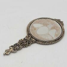 Vintage Hand Mirror Ornate Handle Purse Size