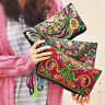 US Handmade Women Boho Ethnic Embroidered Wristlet Clutch Bag Purse Wallet Gift