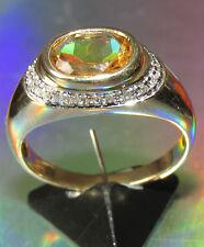 BELLISSIMO di seconda mano 9ct Giallo Oro Giallo Citrino & Anello Di Diamanti Taglia o1/2