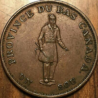 1837 LOWER CANADA HALFPENNY BANK TOKEN - City bank - Excellent example!