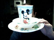 DISNEY MICKEY MOUSE SUMMER BREAKFAST SET BOWL , PLATE & CUP PERFECT GIFT!