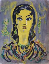 Charles KIFFER (1902-1992) Aquarelle Portrait / Fauviste fauvist Années 30 / 40