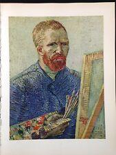 "1950 Vintage Full Color Art Plate ""PORTRAIT OF THE ARTIST"" VAN GOGH Lithograph"