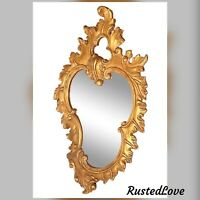 """Mirror Vintage Art Legno Italy Giltwood """"Rococo Style"""" Large Antiqued 30""""x 18"""""""
