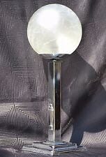 Vintage Art Deco Chrome Lamp Base with Round Globe Crackle Glass Shade