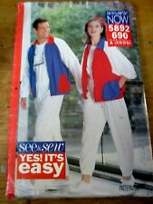SEE*SEW NOW SEWING PATTERN NO. 5892 690 UNISEX TRACK SUITS XS-S-M