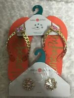 NWT Lindsay Phillips Erica 6 Style Flip Flops + Extra Set Of Snaps Coral Gold