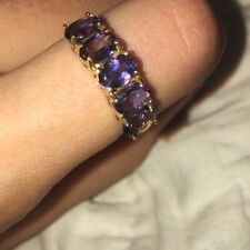 Size 8 10K Gold 5 Amethyst Ring BEAUTIFUL!