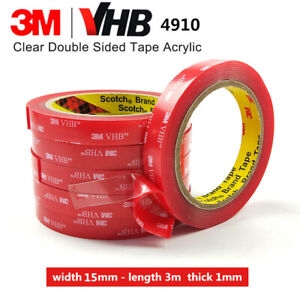 15mm x 3m 3M VHB 4910 DOUBLE SIDED CLEAR Self Adhesive Sticky TAPE Acrylic Foam
