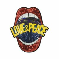 Sequin Love & Peace Mouth (Sew On) Embroidery Applique Patch Sew Iron Badge