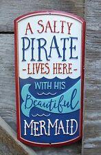 Salty PIRATE Beautiful MERMAID Beach House Decor Nautical Ocean Sea METAL SIGN