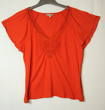 ORANGE CORAL RED LADIES CASUAL TOP BLOUSE V-NECK SOON SIZE 14 LACE TRIM STRETCH