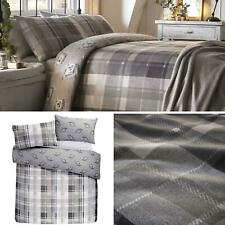 Grey Duvet Covers Tartan Flannelette Brushed Cotton Quilt Cover Bedding Sets