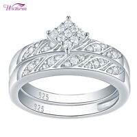 925 Sterling Silver Round White AAA Cz Wedding Band Engagement Ring Set Sz 5-10