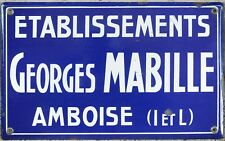 Old art deco French enamel building sign plaque notice Georges Mabille Amboise