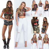 Womens Floral Mesh Sheer Embroidered Flower See-through Crop Tops T Shirt Blouse