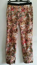 ZARA woman cream & pink multi floral leafy cotton pants trousers size XS
