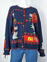 VTG 80s Ugly Christmas Cardigan Cute Cats Intarsia Knitted Sweater Kawaii L XL
