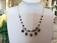 Brand new Tibetan silver beaded necklace with real tigers eye beads and gift box