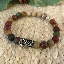 Onyx & Jasper Gemstones Lava Rock Beaded Bracelet Essential Oil Diffuser Jewelry