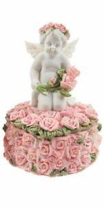 Cherub Angel In Rose Buds Heart Shaped Cherub Trinket Jewellery Box Ornament