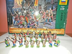 PAINTED SOLDIERS 1/72 20mm - FRENCH INFANTRY - MEDIEVAL WARS x 24 ZVEZDA